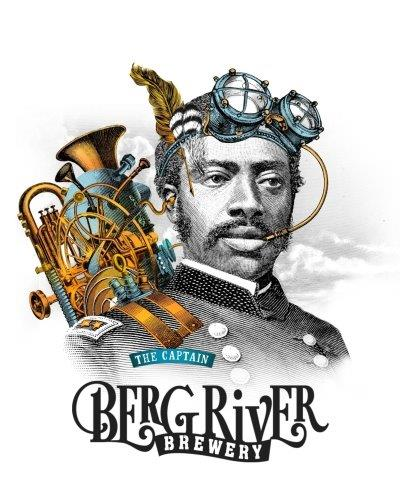 An artistic rendition of a young African captain carrying a modified tuba on his back with hints of amber colour and ocean blue branded with the Bergriver Brewery Logo at the bottom.