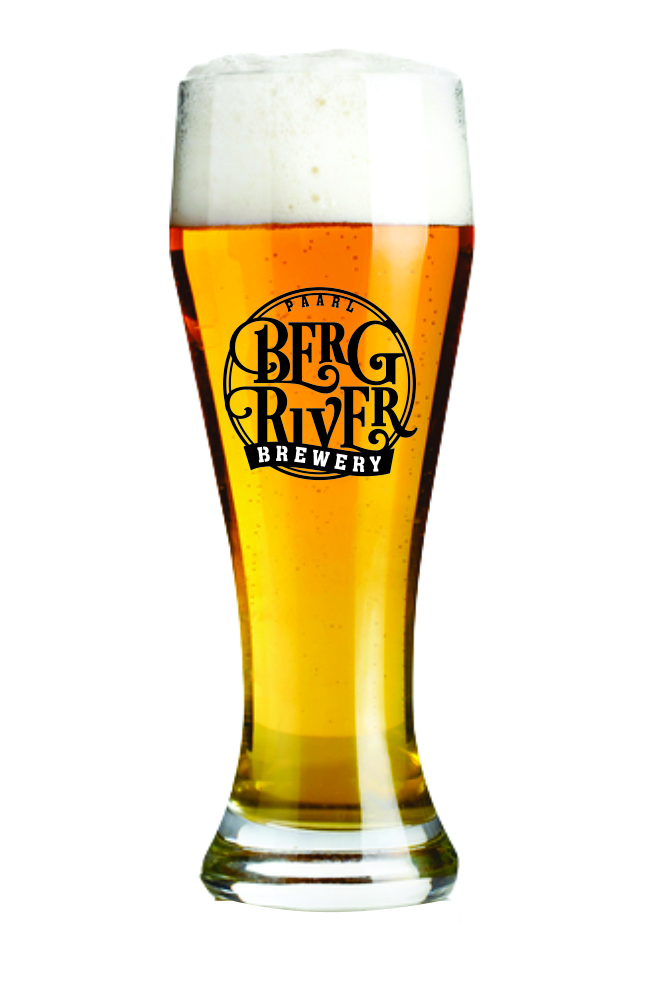 A weissbier glass branded with the Bergriver Brewery Logo, filled with a beer golden in colour and crafted by Bergriver Brewery.