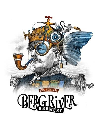 An artistic rendition of an old admiral smoking a pipe with hints of amber colour and ocean blue branded with the Bergriver Brewery Logo at the bottom.