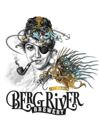 An artistic rendition of a one-eyed woman smoking a pipe with hints of ocean blue colour and amber reminiscent of pale ale branded with the Bergriver Brewery logo at the bottom.